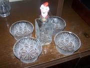 Хрусталь вазы, бокалы, салатницы, рюмки, хлеборезка немецк.